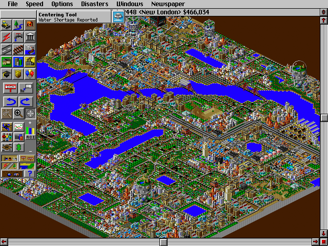 Screenshot of SimCity 2000, zoomed out and showing as much of my city as possible.
