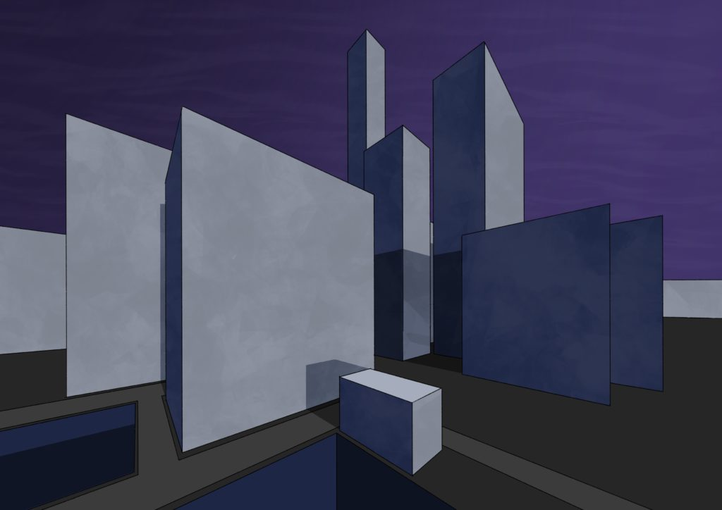 A very clean geometric painting of grey and blue city buildings. The sky is purple and the light is coming from the very right, the buildings casting shadows to the left.