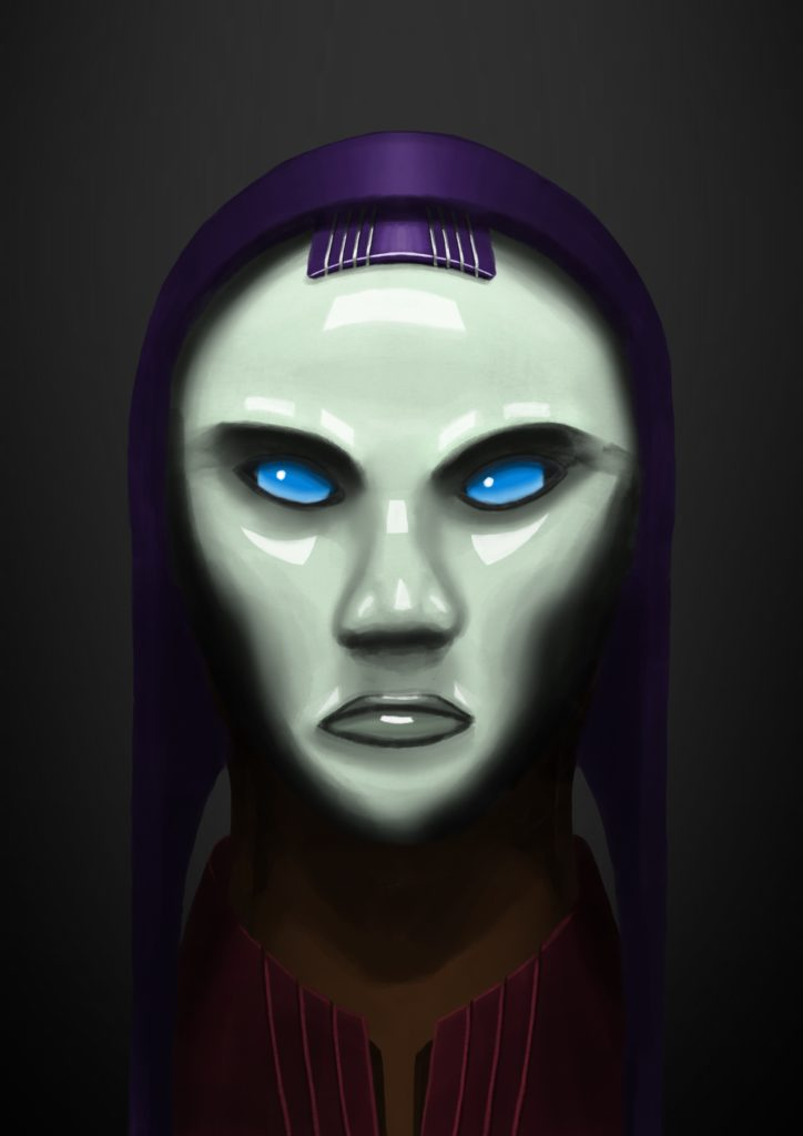 "A painting of a cybernetic woman, her eyes look like blue glass and she has green and very shiny ""skin"". She has a purple hood over the back of her head."
