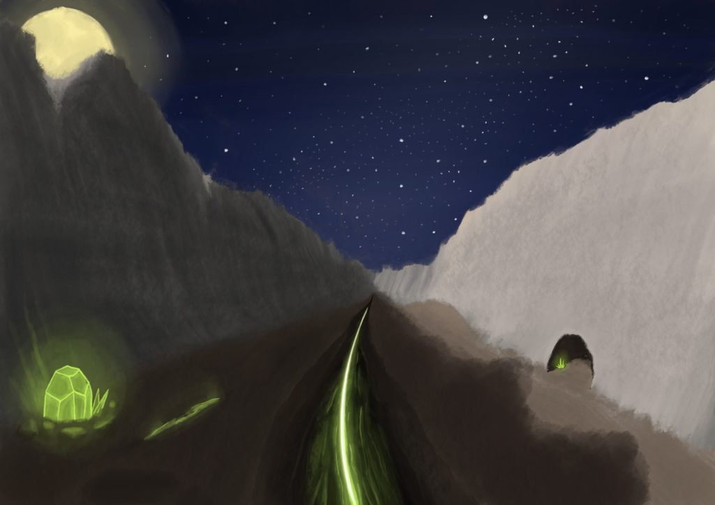 A painting looking down a desolate grey rocky valley. A deep black rift runs down the middle with a sickly green glow at the bottom, at the left is a crystal embedded in the ground with the same green glow coming from it. At the right is a cave entrance in the valley wall with another glowing crystal. The sky is awash with stars, and the moon peeks from behind the valley peak at the far left.