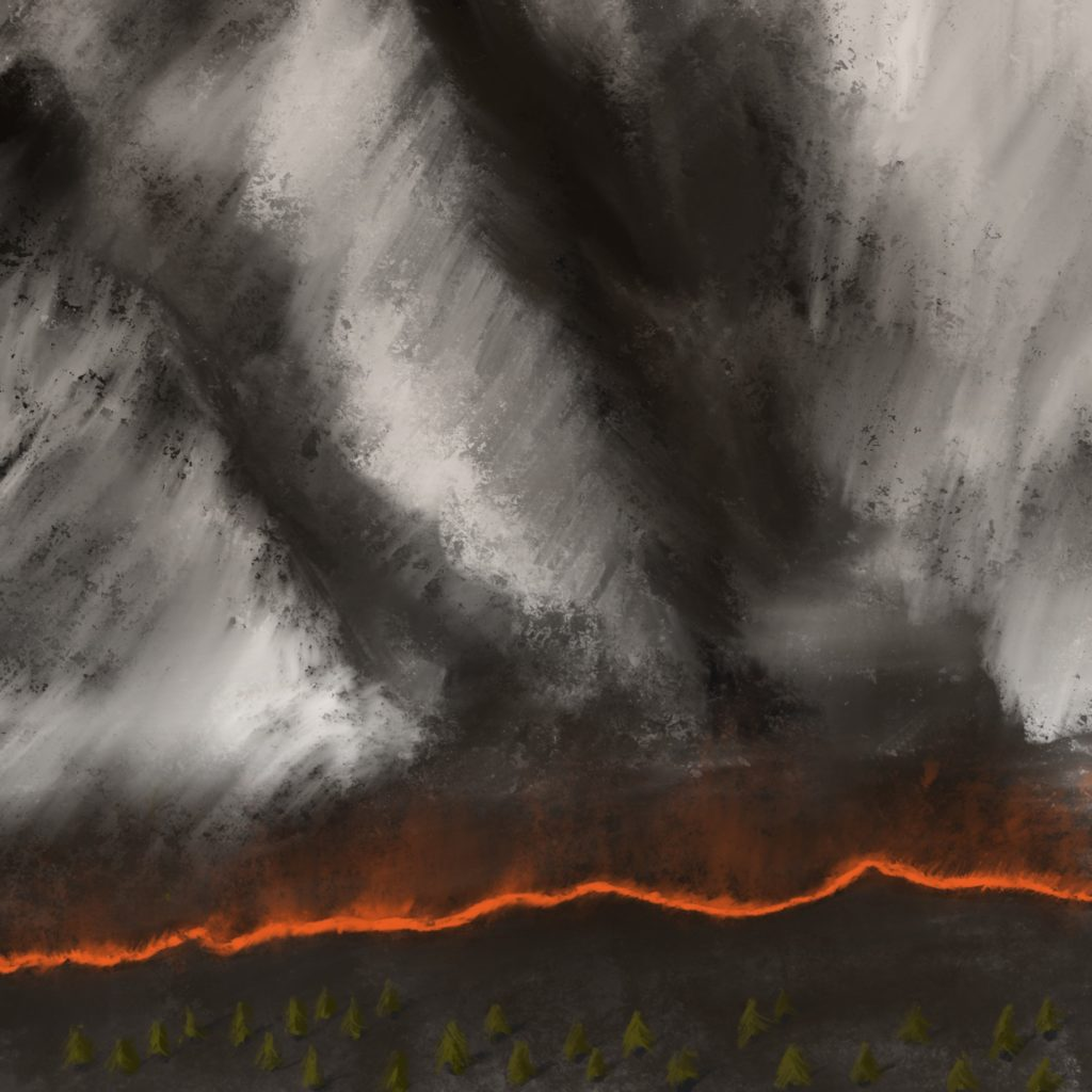 A painting of a craggy grey mountain range in the top two-thirds of the image, with a river of fire making its way the whole way across the image, and a bunch of conifers at the bottom.