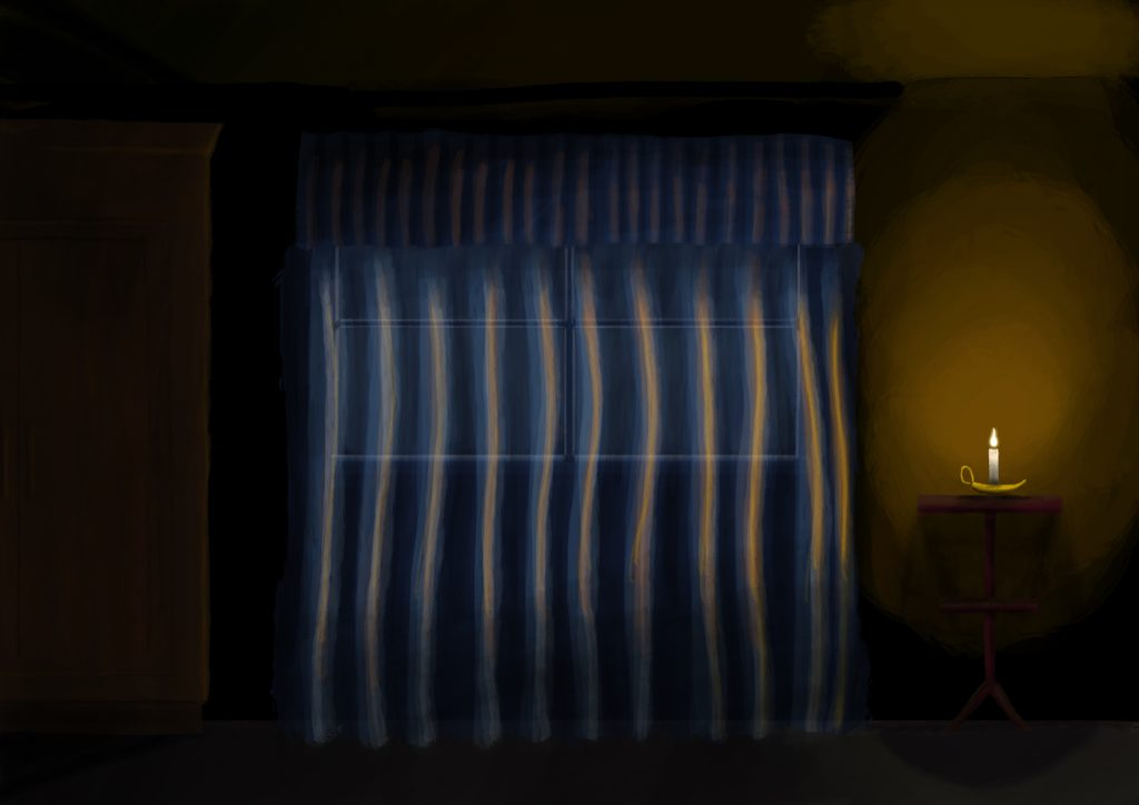 A painting of a window at night, from inside a room. There's sheer curtains over the window, a candle is on a small table at the right casting light, and there's a tall cupboard at the left in the shadows.