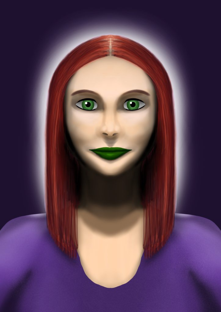 A head and shoulders portrait painting of a white woman with piercing green eyes, long red hair, and dark green lipstick. She's wearing a dark purple top, and there's a bright light shining behind her that's lighting up her shoulders and the very edges of her hair.