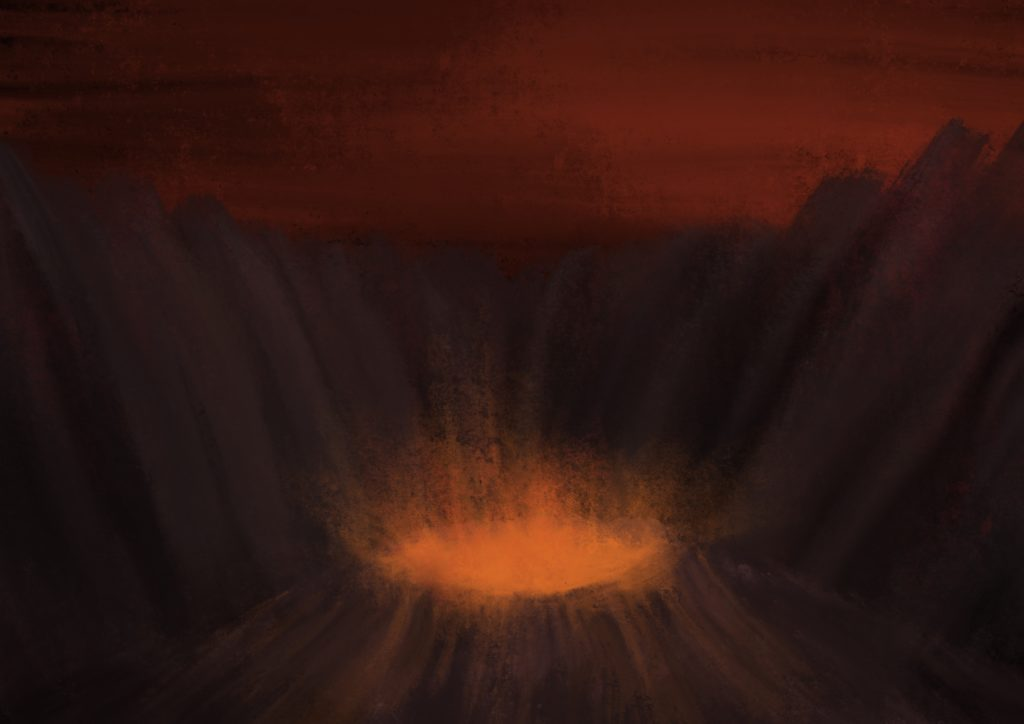A painting of a volcano erupting atop a hill, the hill is surrounded by taller mountains all around, and the sky above is filled with striated dark orange clouds.