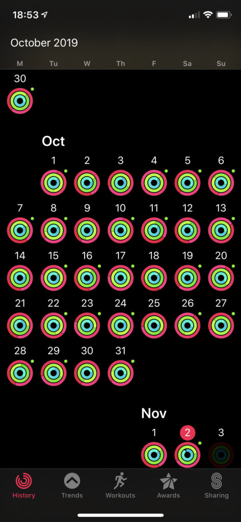 A screenshot of the Activity app for Apple Watch showing every single day in October having all three rings closed