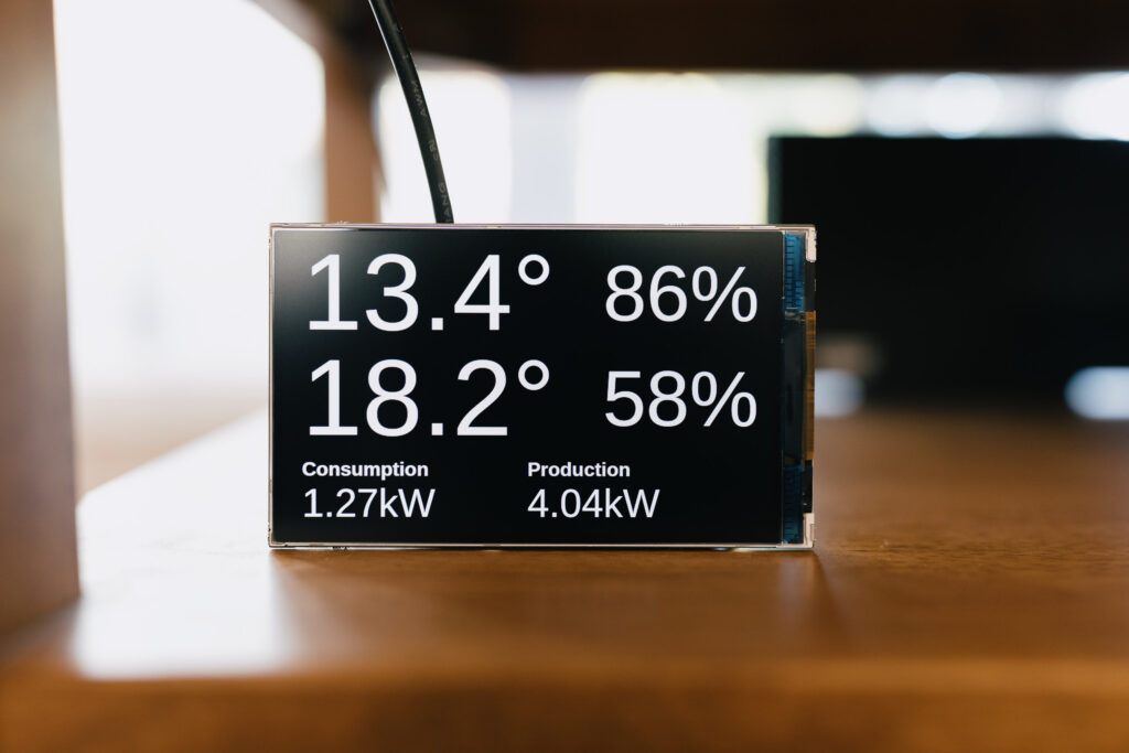 A photo of a small LCD display showing outdoor and indoor temperature and current power consumption and production. The text is white on black.